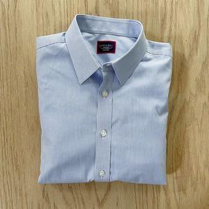 Mens  Pinstripe Slim Fit Wrinkle Free 100% Cotton Dress Shirt Medium